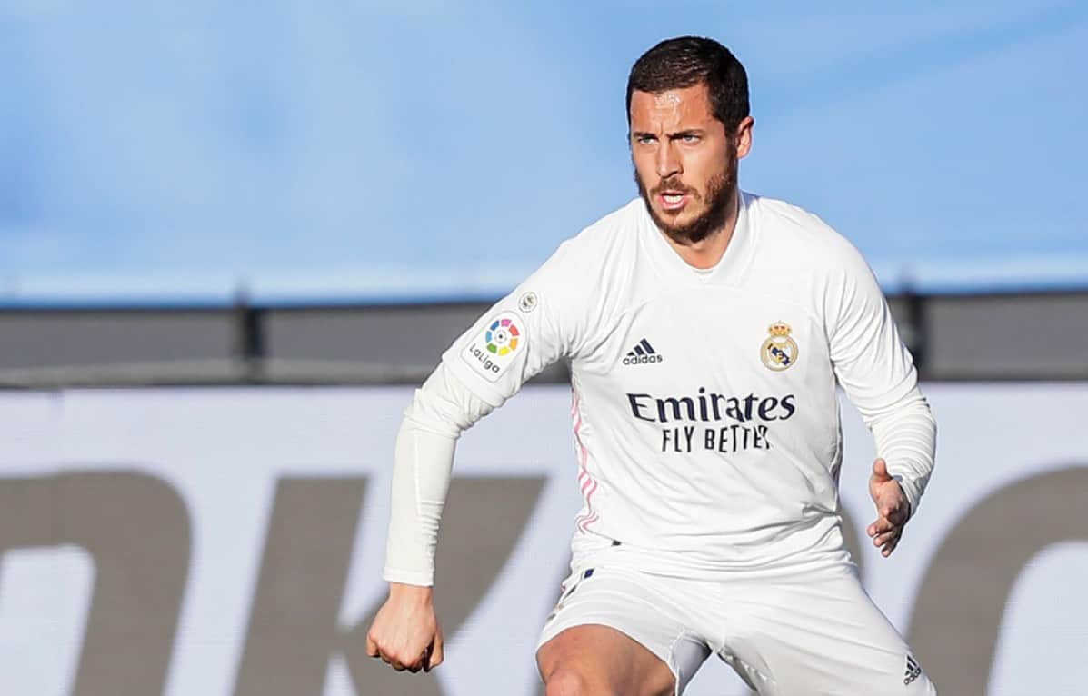 Eden Hazard of Real Madrid during the La Liga Santander match between Real Madrid v Elche at the Estadio Alfredo Di Stefano on March 13, 2021 in Madrid Spain (Photo by David S. Bustamante/Soccrates/Getty Images)