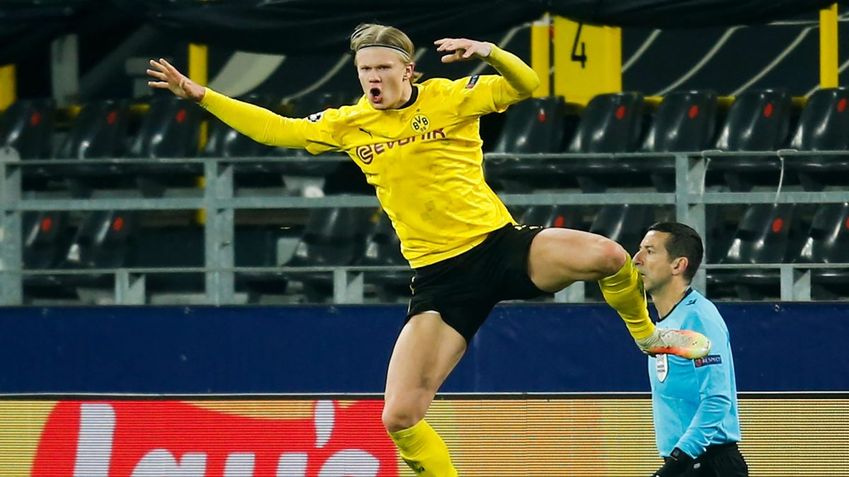 Erling Haaland in action for Borussia Dortmund