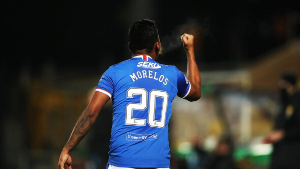Alfredo Morelos of Rangers celebrates after scoring the only goal of the game during Rangers 1-0 victory over Livingston at Tony Macaroni Arena on March 03, 2021 in Livingston, Scotland. Sporting stadiums around the UK remain under strict restrictions due to the Coronavirus Pandemic as Government social distancing laws prohibit fans inside venues resulting in games being played behind closed doors.