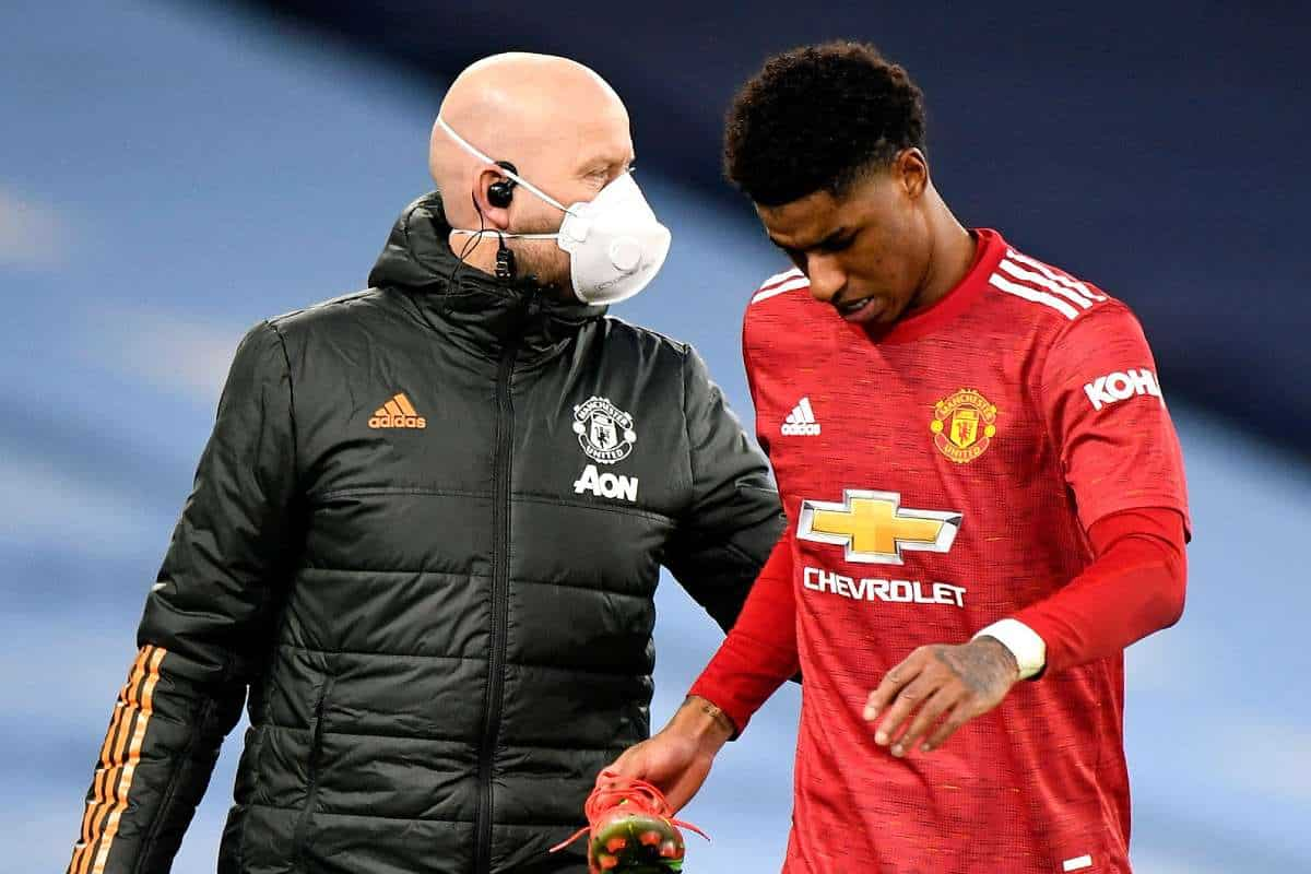 Marcus Rashford suffered an injury blow against Manchester City