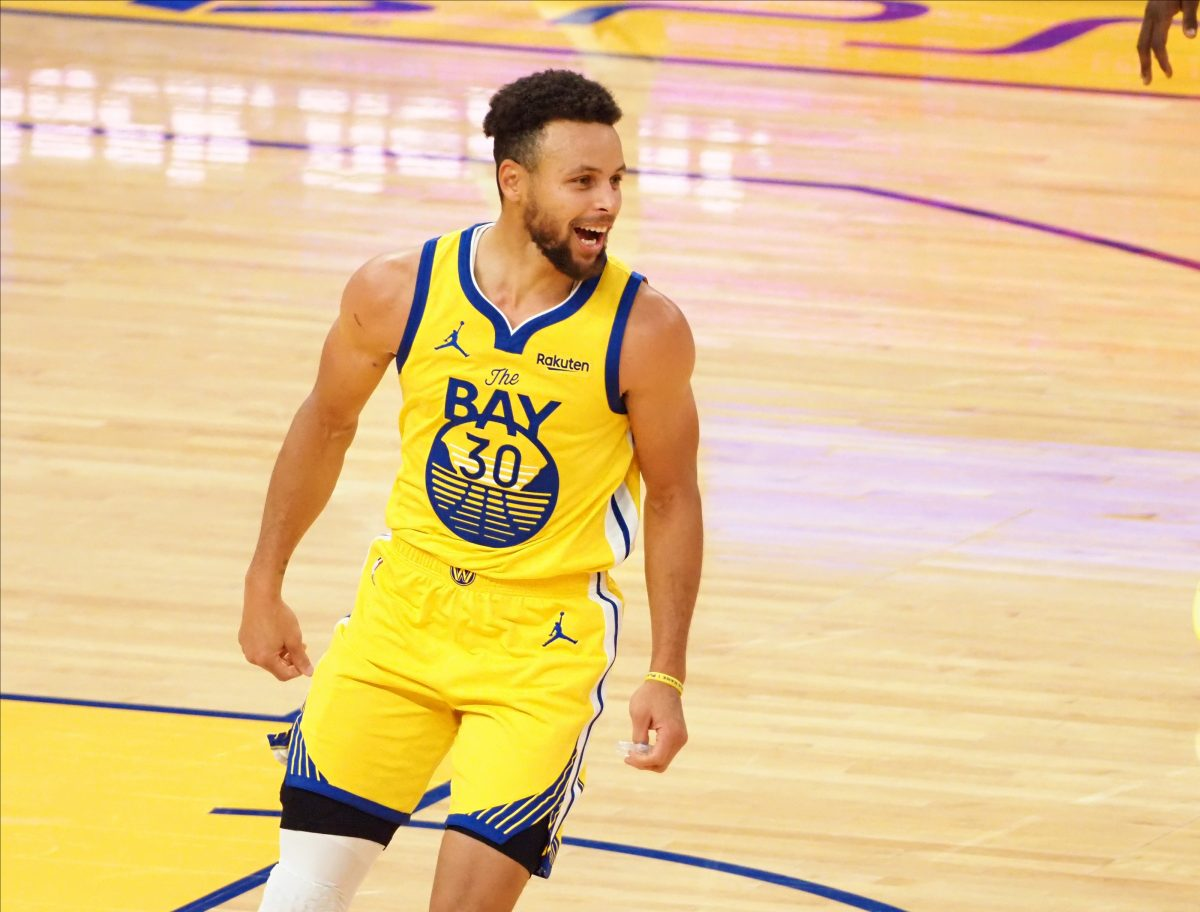 San Francisco, California, USA; Golden State Warriors guard Stephen Curry (30) celebrates after a basket against the Portland Trail Blazers during the fourth quarter for a career-high 62 point game for Curry at Chase Center. Mandatory Credit: Kelley L Cox-USA TODAY Sports