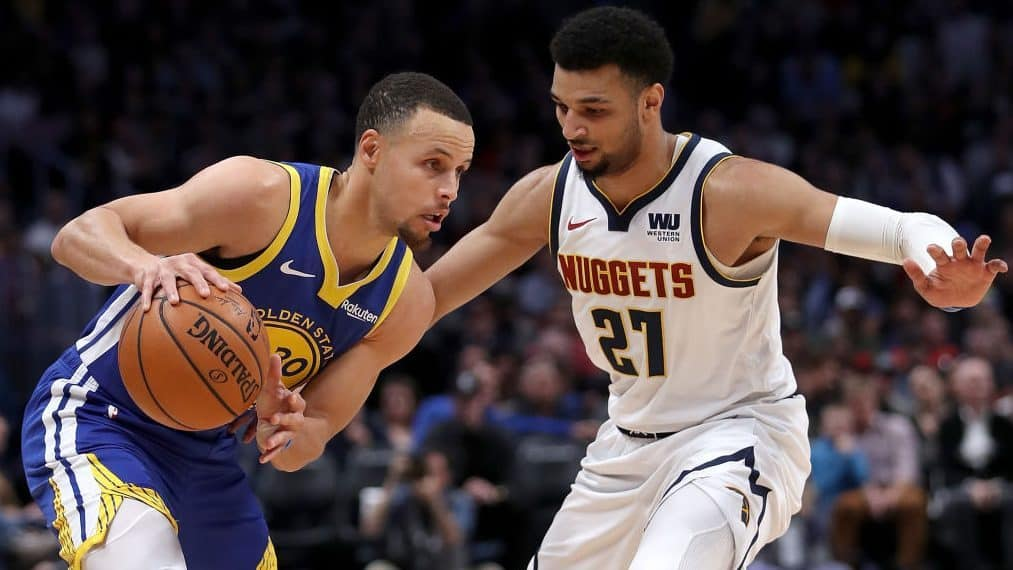 Stephen Curry reacts to Nuggets star Jamal Murray's injury