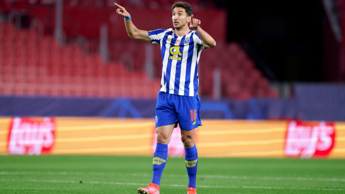 Marko Grujic of FC Porto reacts during the UEFA Champions League Quarter Final match between FC Porto and Chelsea FC at Estadio Ramon Sanchez Pizjuan on April 07, 2021 in Seville, Spain. Sporting stadiums around Spain remain under strict restrictions due to the Coronavirus Pandemic as Government social distancing laws prohibit fans inside venues resulting in games being played behind closed doors.