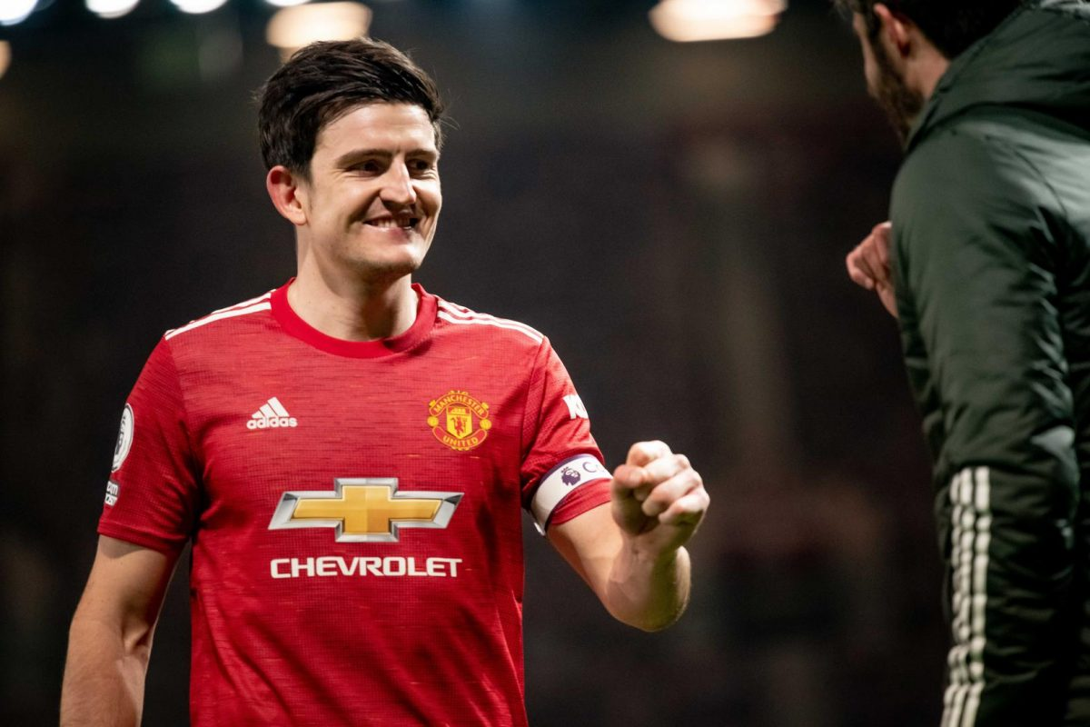 Harry Maguire of Manchester United reacts at the end of the Premier League match between Manchester United and Brighton & Hove Albion at Old Trafford on April 4, 2021 in Manchester, United Kingdom. Sporting stadiums around the UK remain under strict restrictions due to the Coronavirus Pandemic as Government social distancing laws prohibit fans inside venues resulting in games being played behind closed doors.