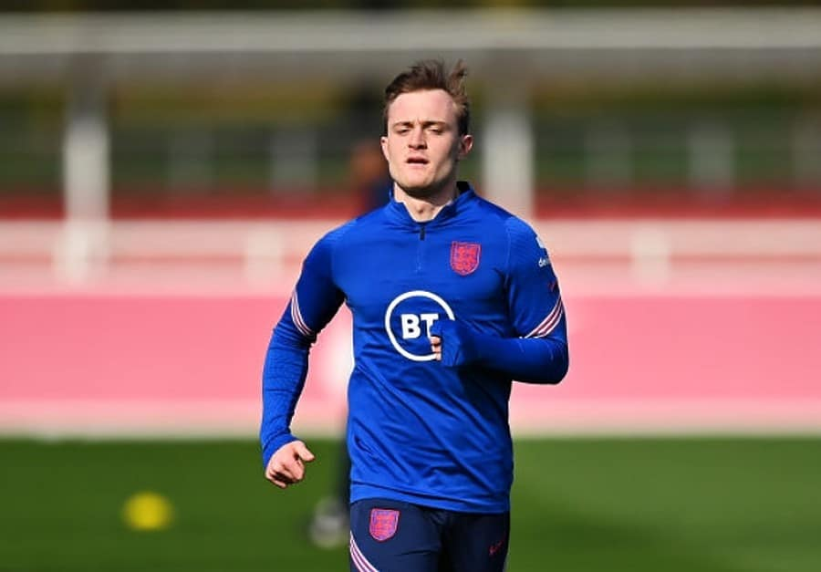 Oliver Skipp of England warms up during the England U21 Training Session at St George's Park on March 22, 2021 in Burton upon Trent, England. (Photo by Dan Mullan - The FA/The FA via Getty Images)
