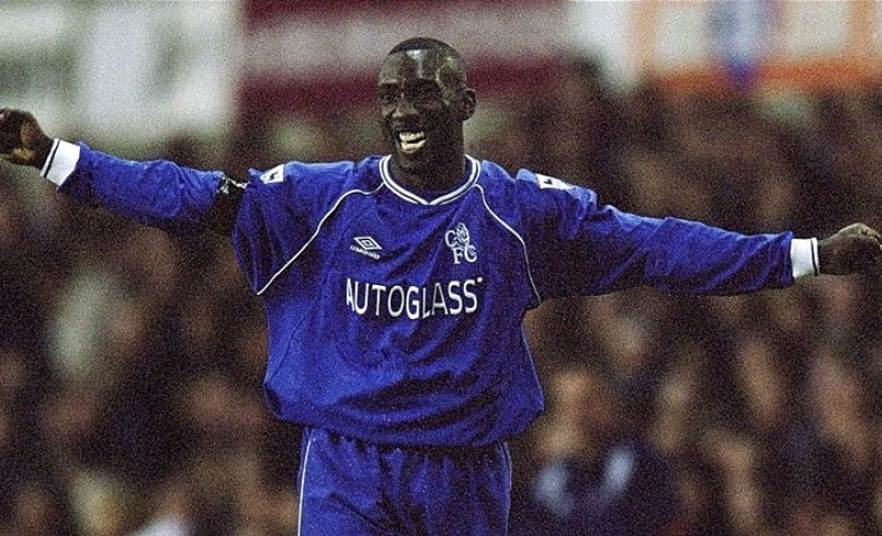 Jimmy Floyd Hasselbaink of Chelsea celebrates his goal during the FA Carling Premiership match against Tottenham Hotspur played at White Hart Lane, in London. Chelsea won the match 3-0. \ Mandatory Credit: Jamie McDonald /Allsport