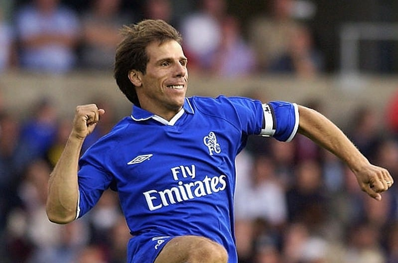 Gianfranco Zola of Chelsea celebrates during the pre-season friendly between Oxford United and Chelsea at the Kassam Stadium in Oxford, England on July 24, 2002. (Photo by Shaun Botterill/Getty Images)
