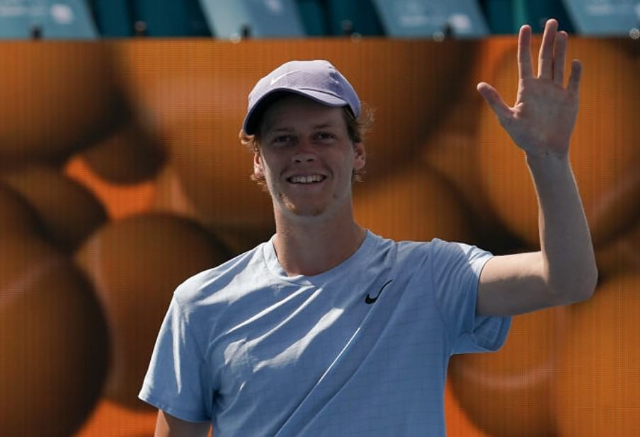 Jannik Sinner (ITA) reacts after winning the semi finals match of the Miami Open on April 2, 2021, at Hard Rock Stadium in Miami Gardens, Florida. (Photo by Michele Eve Sandberg/Icon Sportswire via Getty Images)