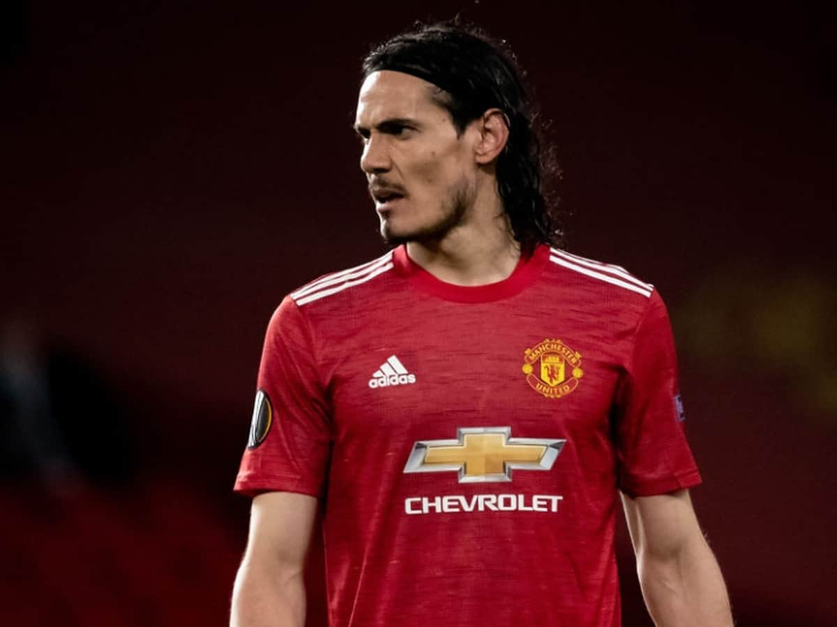 Edinson Cavani of Manchester United in action during the UEFA Europa League Quarter Final Second Leg match between Manchester United and Granada CF at Old Trafford on April 15, 2021 in Manchester, United Kingdom. Sporting stadiums around Europe remain under strict restrictions due to the Coronavirus Pandemic as Government social distancing laws prohibit fans inside venues resulting in games being played behind closed doors. (Photo by Ash Donelon/Manchester United via Getty Images)