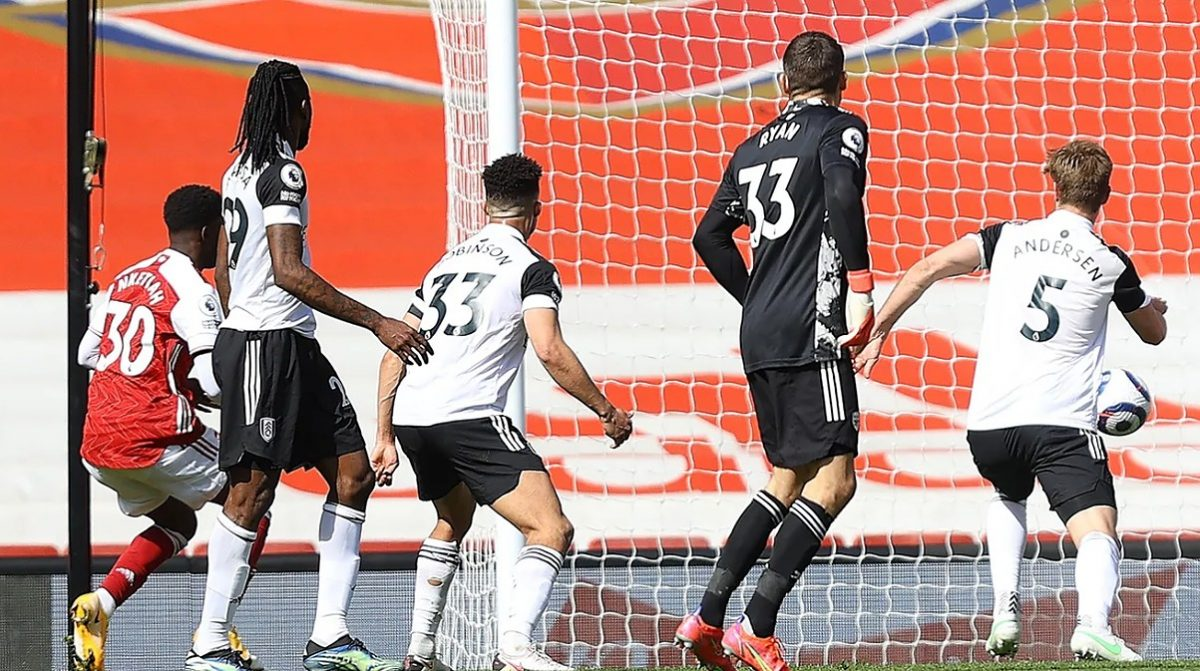 Eddie Nketiah slots in at the back post to deny Fulham a vital three points