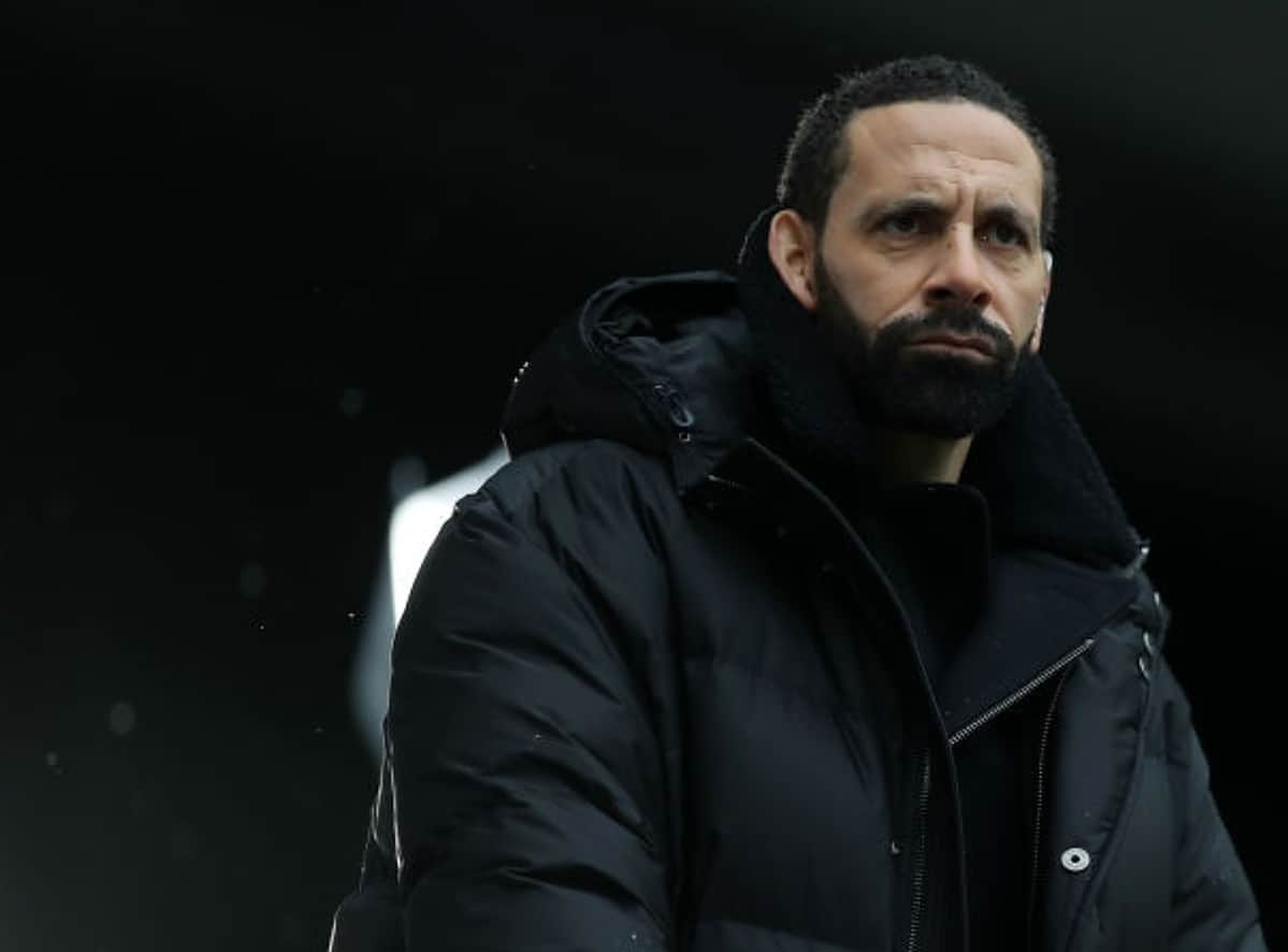 Rio Ferdinand looks on prior to the Premier League match between Tottenham Hotspur and West Bromwich Albion at Tottenham Hotspur Stadium on February 07, 2021 in London, England. Sporting stadiums around the UK remain under strict restrictions due to the Coronavirus Pandemic as Government social distancing laws prohibit fans inside venues resulting in games being played behind closed doors. (Photo by Tottenham Hotspur FC/Tottenham Hotspur FC via Getty Images)