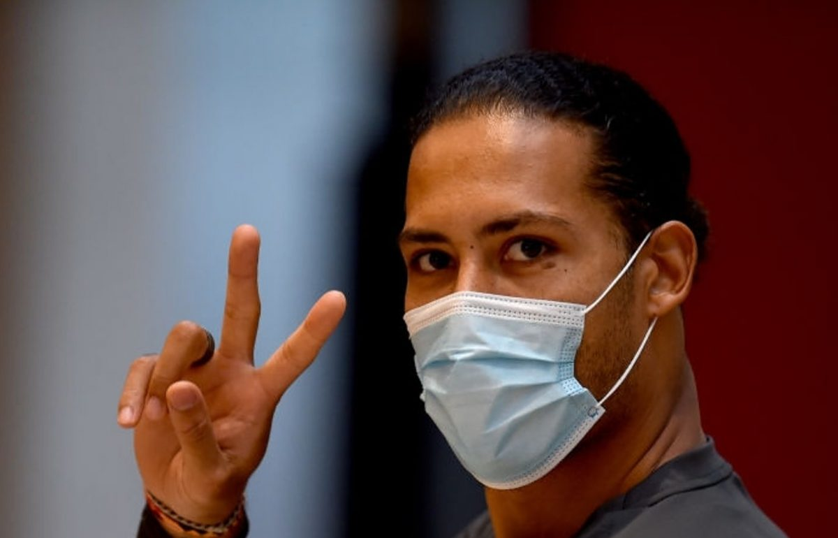 Virgil van Dijk of Liverpool during a training session at AXA Training Centre on February 24, 2021 in Kirkby, England. (Photo by Andrew Powell/Liverpool FC via Getty Images)