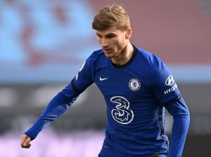 Timo Werner of Chelsea during the Premier League match between West Ham United and Chelsea at London Stadium on April 24, 2021 in London, England. Sporting stadiums around the UK remain under strict restrictions due to the Coronavirus Pandemic as Government social distancing laws prohibit fans inside venues resulting in games being played behind closed doors. (Photo by Justin Setterfield/Getty Images)