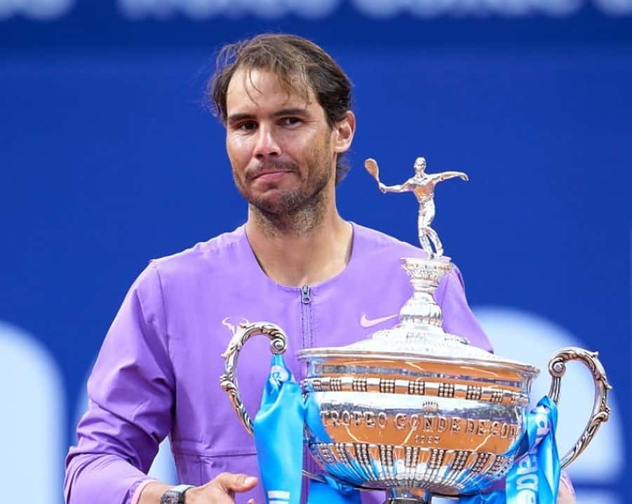 Rafael Nadal of Spain poses with the trophy after his victory against Stefanos Tsitsipas of Greece in their final match during day seven of the Barcelona Open Banc Sabadell 2021 at Real Club de Tenis Barcelona on April 25, 2021 in Barcelona, Spain. (Photo by Alex Caparros/Getty Images)
