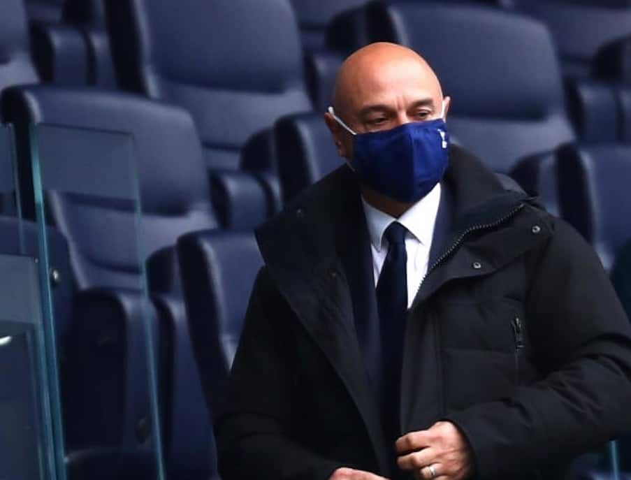 Daniel Levy, Chairman of Tottenham Hotspur looks on during the Premier League match between Tottenham Hotspur and Southampton at Tottenham Hotspur Stadium on April 21, 2021 in London, England. Sporting stadiums around the UK remain under strict restrictions due to the Coronavirus Pandemic as Government social distancing laws prohibit fans inside venues resulting in games being played behind closed doors. (Photo by Clive Rose/Getty Images)