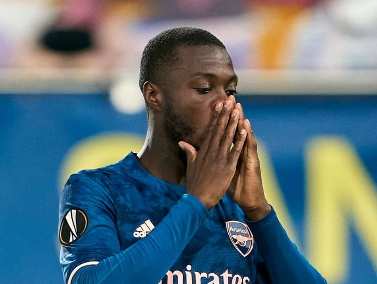 Nicolas Pepe of Arsenal reacts during the UEFA Europa League Semi-final First Leg match between Villareal CF and Arsenal at Estadio de la Ceramica on April 29, 2021 in Villarreal, Spain. Sporting stadiums around Europe remain under strict restrictions due to the Coronavirus Pandemic as Government social distancing laws prohibit fans inside venues resulting in games being played behind closed doors. (Photo by Manuel Queimadelos/Quality Sport Images/Getty Images)