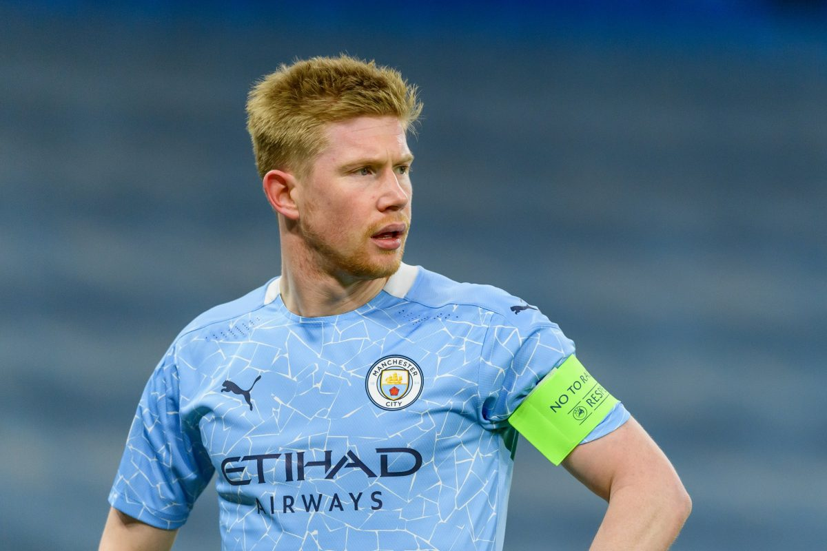Kevin De Bruyne of Manchester City looks on during the UEFA Champions League Quarter Final match between Manchester City and Borussia Dortmund at Manchester City Football Academy on April 6, 2021 in Manchester, United Kingdom. Sporting stadiums around the UK remain under strict restrictions due to the Coronavirus Pandemic as Government social distancing laws prohibit fans inside venues resulting in games being played behind closed doors.