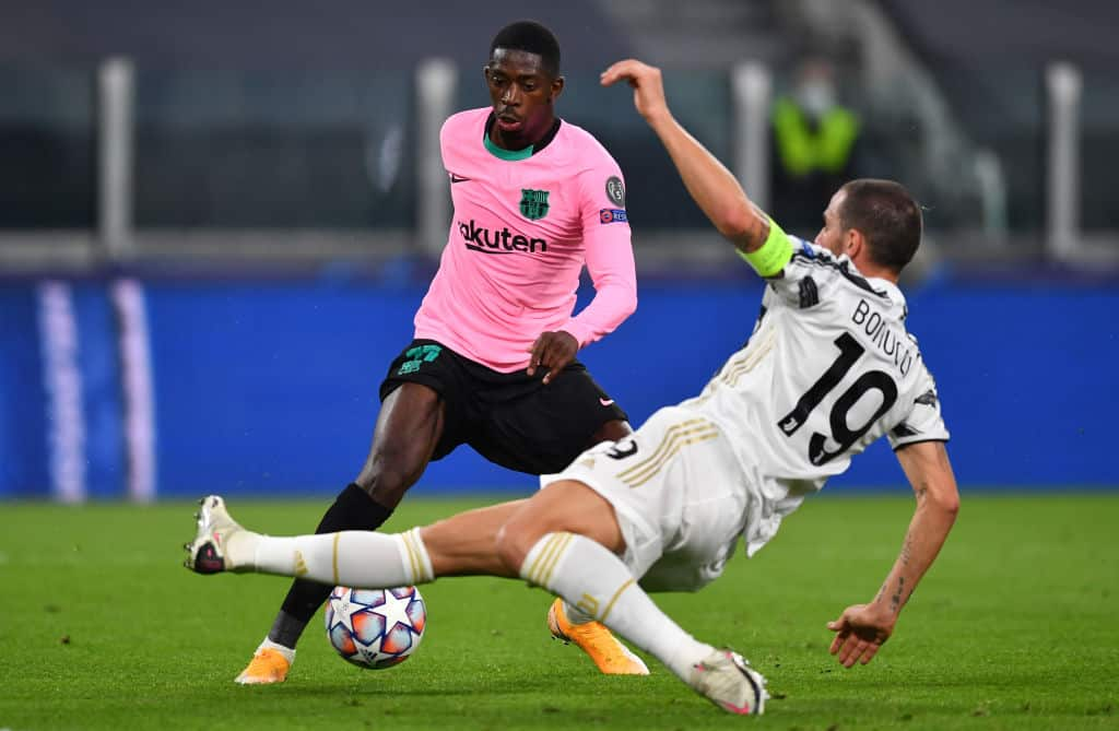 Ousmane Dembele in action for Barcelona