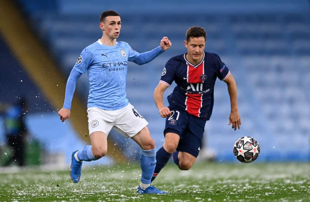 Phil Foden and Ander Herrera during Champions League match between Manchester City and PSG