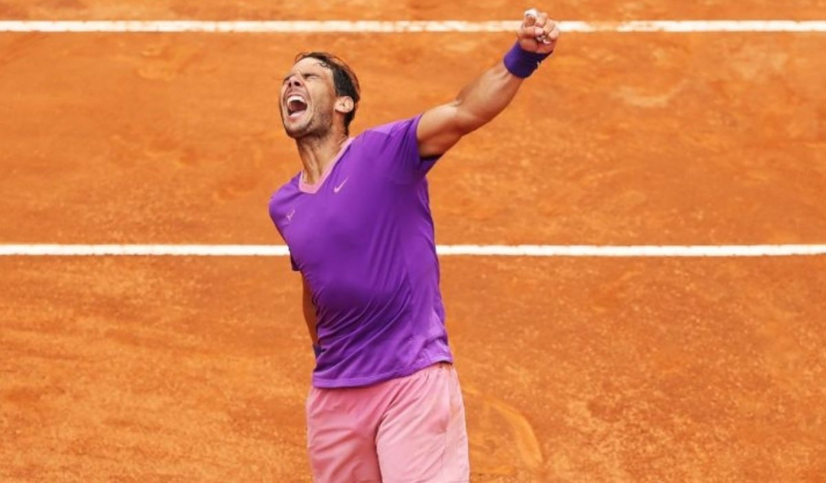 Rafael Nadal of Spain celebrates after defeating Alexander Zverev of Germany in their match on Day Seven of the Internazionali BNL D'Italia at Foro Italico on May 14, 2021 in Rome, Italy. Sporting stadiums around Italy remain under strict restrictions due to the Coronavirus Pandemic as Government social distancing laws prohibit fans inside venues resulting in games being played behind closed doors. (Photo by Clive Brunskill/Getty Images)