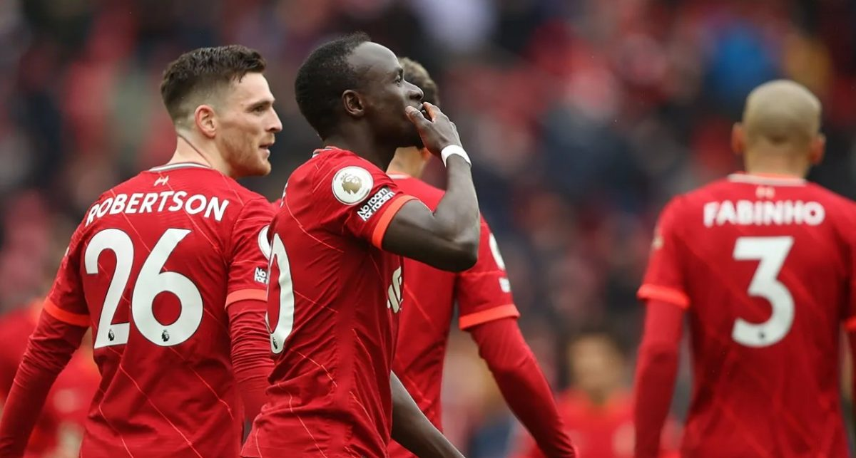 Sadio Mane salutes the home crowd after scoring Liverpool's second goal