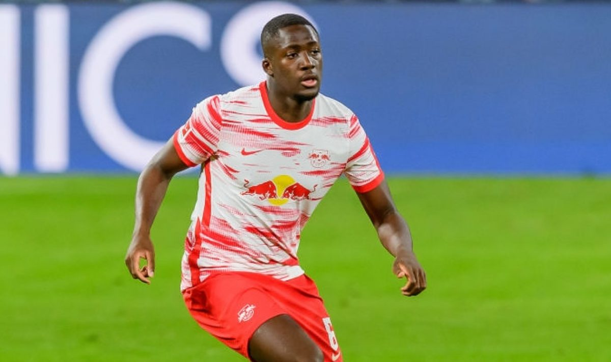 Ibrahima Konate of RasenBallsport Leipzig controls the ball during the Bundesliga match between RB Leipzig and VfL Wolfsburg at Red Bull Arena on May 16, 2021 in Leipzig, Germany. (Photo by Mario Hommes/DeFodi Images via Getty Images)