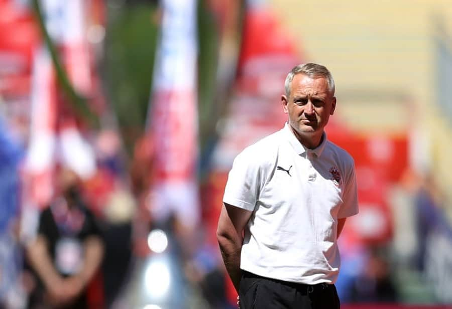 Neil Critchley, Manager of Blackpool looks on prior to the Sky Bet League One Play-off Final match between Blackpool and Lincoln City at Wembley Stadium on May 30, 2021 in London, England. (Photo by Catherine Ivill/Getty Images)