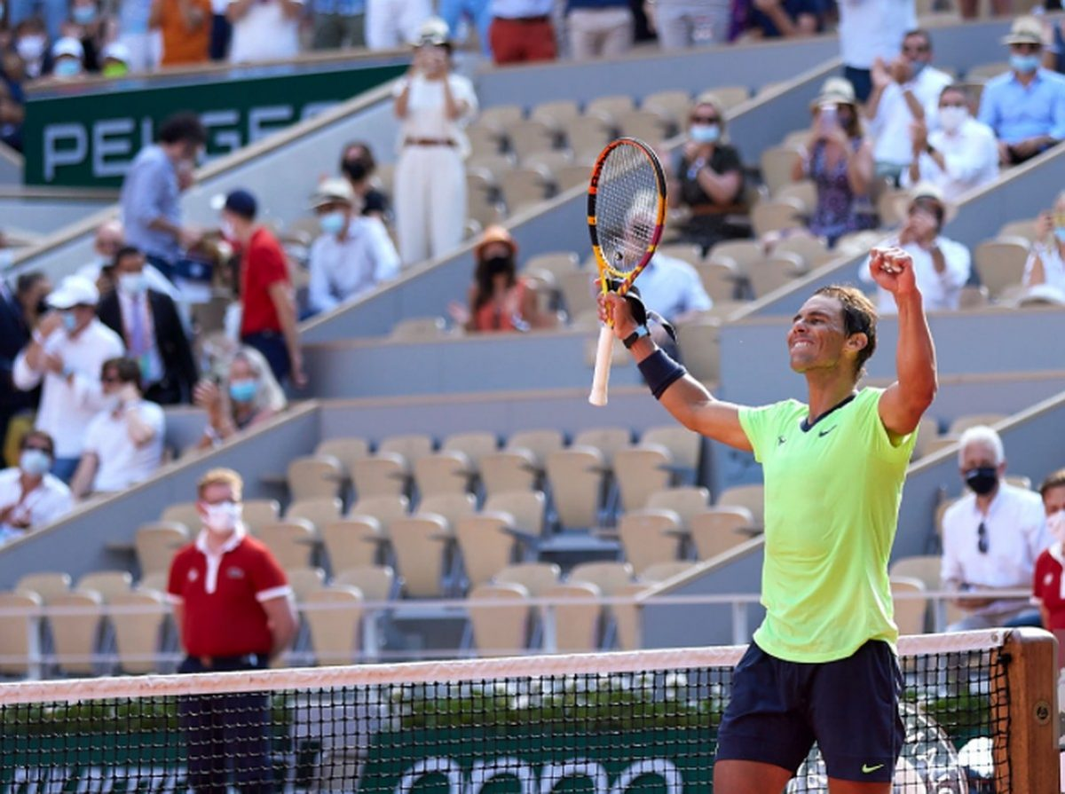 Rafael Nadal of Spain celebrates after victory in his Quarter Final match against Diego Schwartzman of Argentina during day eleven of the 2021 French Open at Roland Garros on June 09, 2021 in Paris, France. (Photo by Tnani Badreddine/Quality Sport Images/Getty Images)