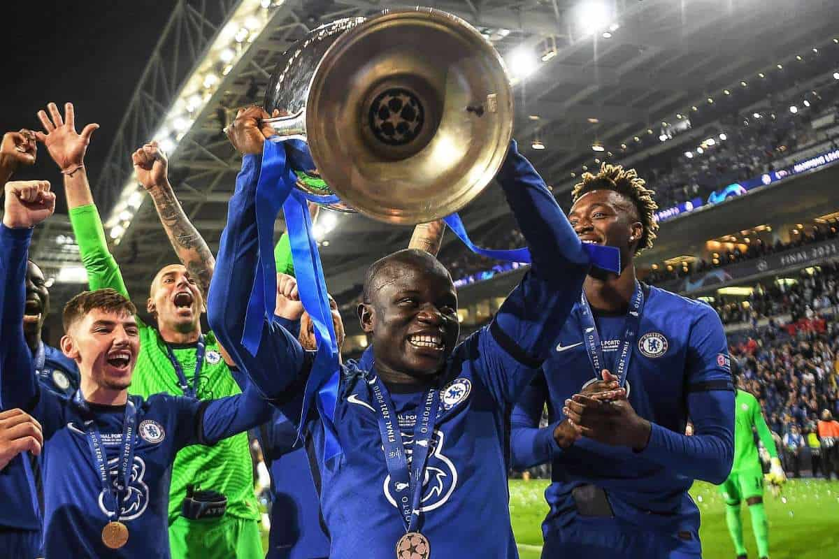 N'Golo Kante with a Champions League trophy