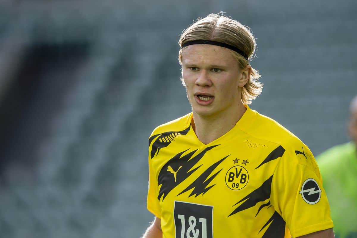 Erling Haaland reacts when asked about staying at Borussia Dortmund amid Chelsea links