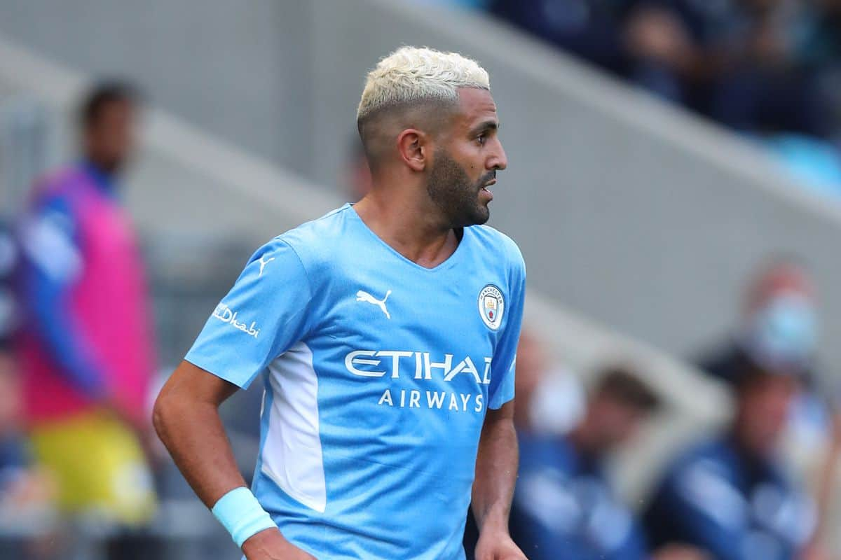 Riyad Mahrez reacts on returning to action and scoring a goal for Manchester City