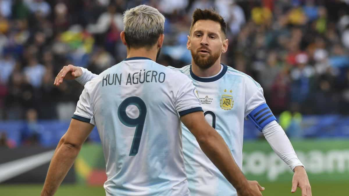 Sergio Aguero and Lionel Messi in action for Argentina national team