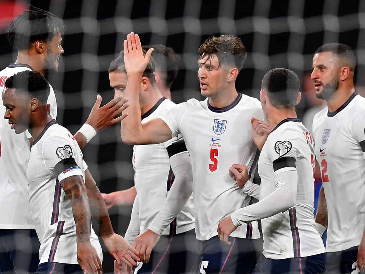 John Stones sends a message following his goal in England's 1-1 draw with Hungary